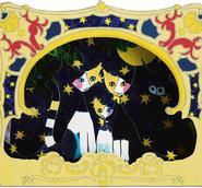 3D-vykort Tre katter och stjärnor